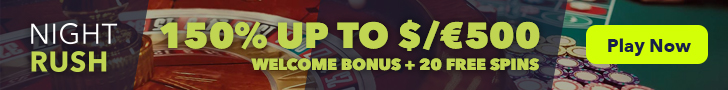 Exclusive bonus at Nightrush Casino