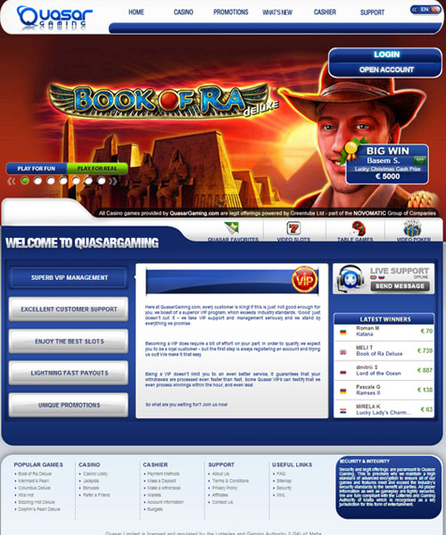live online casino quasar game