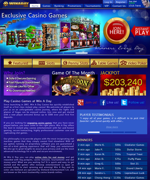 Win A Day Casino Bonus Codes