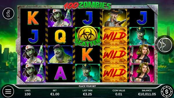 100 Zombies Videoslot Screenshot