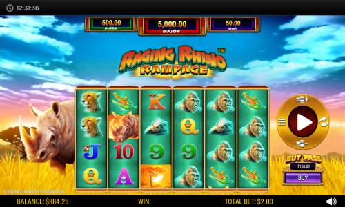 Raging Rhino Rampage Videoslot Screenshot