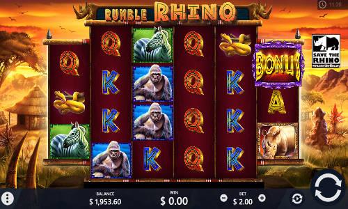 Rumble Rhino Videoslot Screenshot