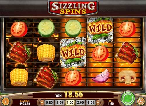 Sizzling Spins Videoslot Screenshot