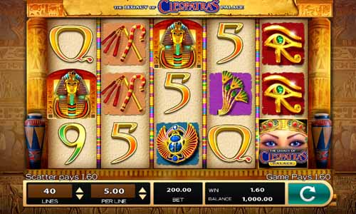 The Legacy of Cleopatras Palace Videoslot Screenshot