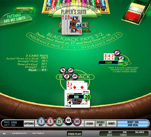 free 21+3 blackjack game