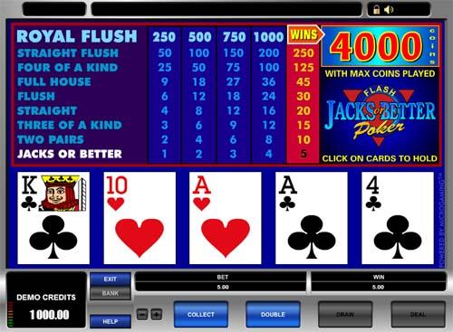 jacks or better video poker online free